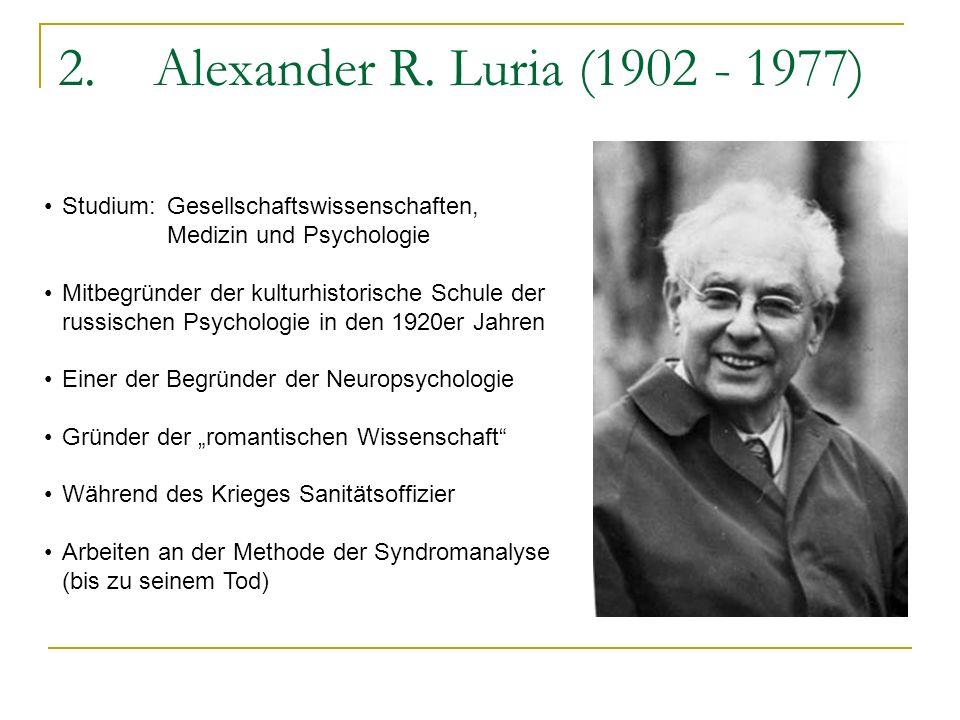 2. Alexander R. Luria (1902 - 1977) Studium: Gesellschaftswissenschaften, Medizin und Psychologie.