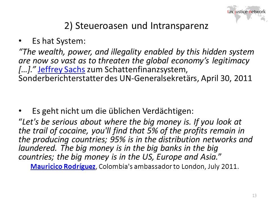 2) Steueroasen und Intransparenz