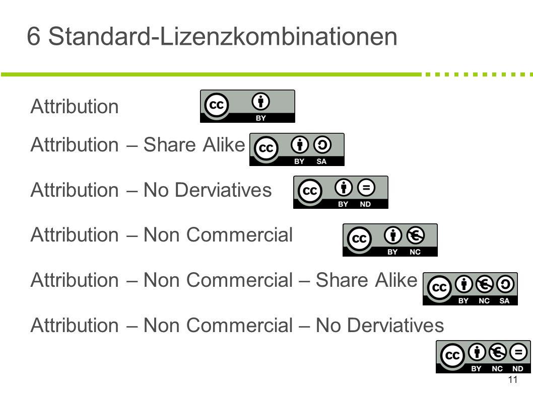 6 Standard-Lizenzkombinationen