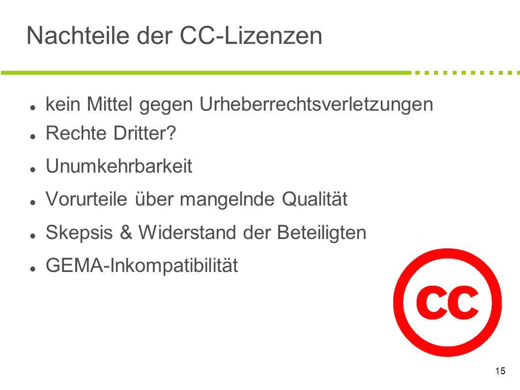 Nachteile der CC-Lizenzen