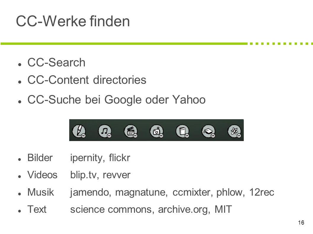 CC-Werke finden CC-Search CC-Content directories