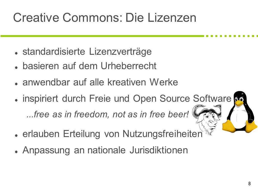 Creative Commons: Die Lizenzen