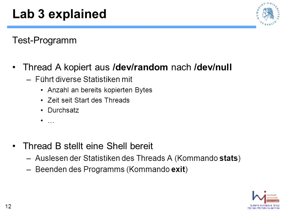 Lab 3 explained Test-Programm