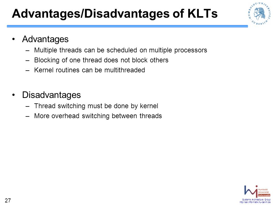 Advantages/Disadvantages of KLTs