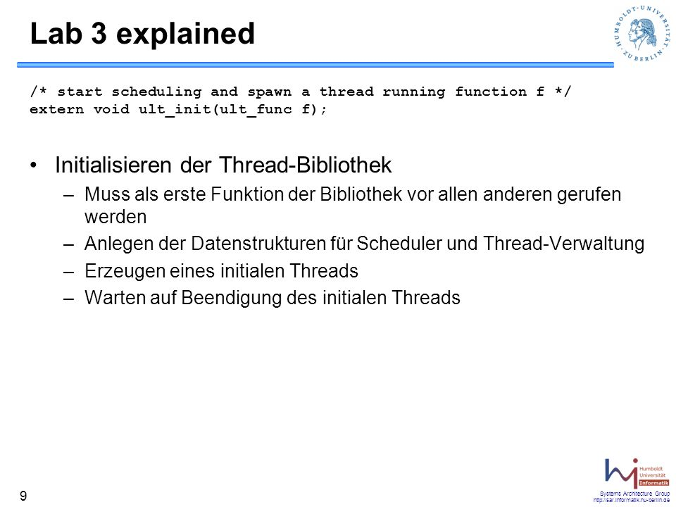 Lab 3 explained Initialisieren der Thread-Bibliothek