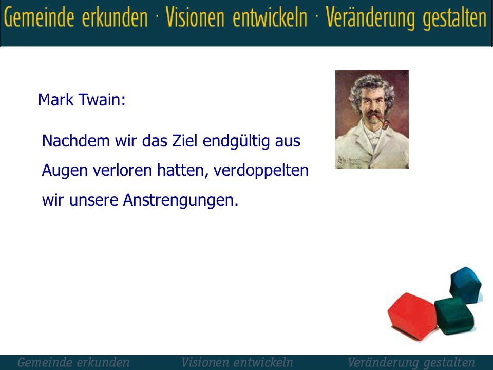 Mark Twain: Nachdem wir das Ziel endgültig aus. Augen verloren hatten, verdoppelten.