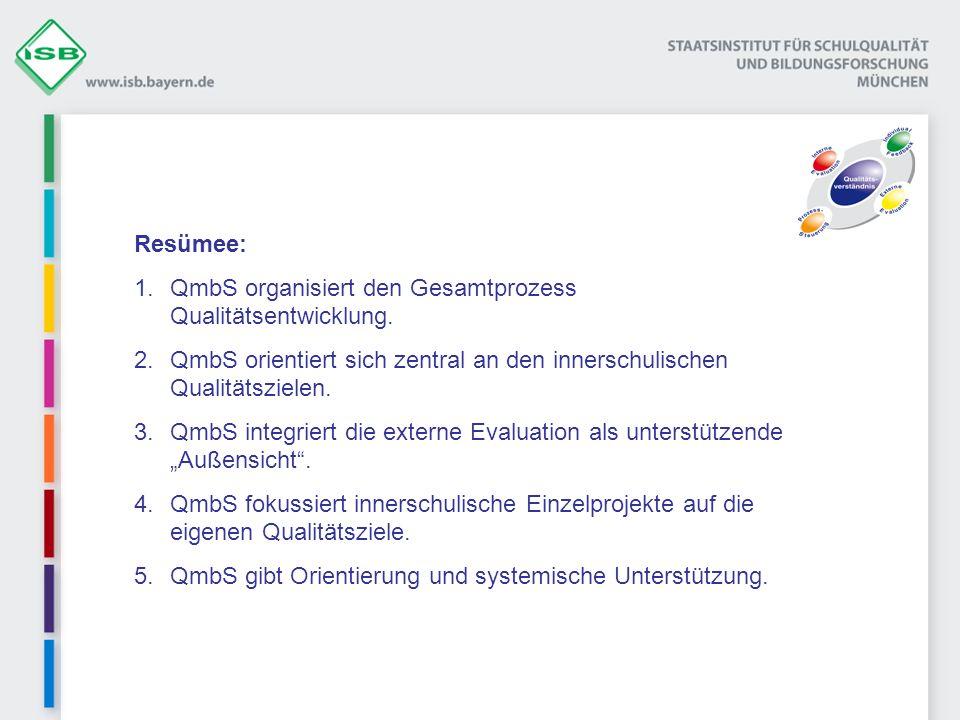 Resümee: QmbS organisiert den Gesamtprozess Qualitätsentwicklung. QmbS orientiert sich zentral an den innerschulischen Qualitätszielen.