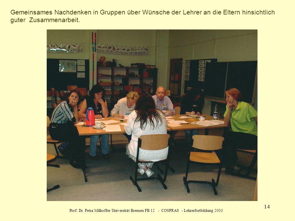Gemeinsames Nachdenken in Gruppen über Wünsche der Lehrer an die Eltern hinsichtlich guter Zusammenarbeit.