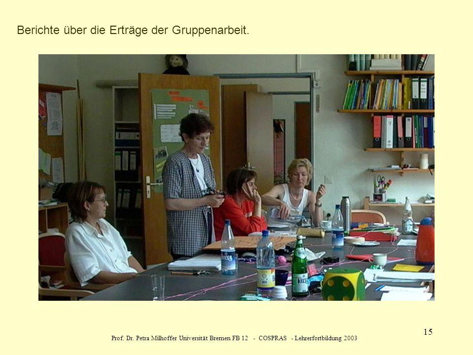 Berichte über die Erträge der Gruppenarbeit.