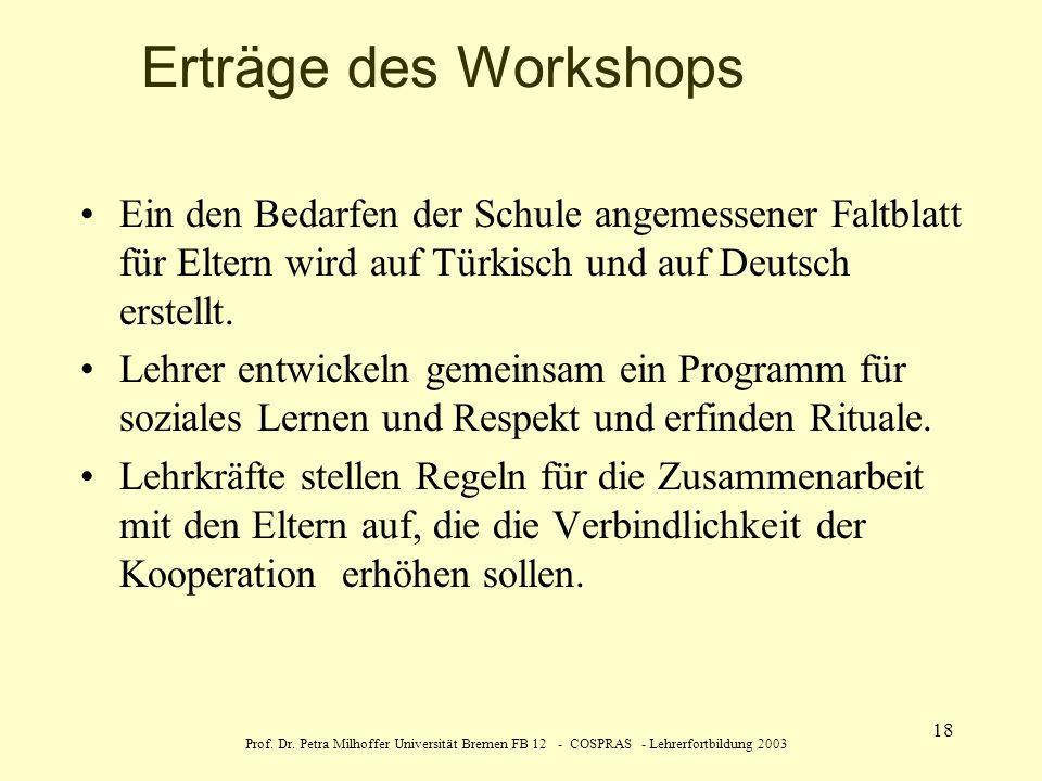 Erträge des Workshops Ein den Bedarfen der Schule angemessener Faltblatt für Eltern wird auf Türkisch und auf Deutsch erstellt.