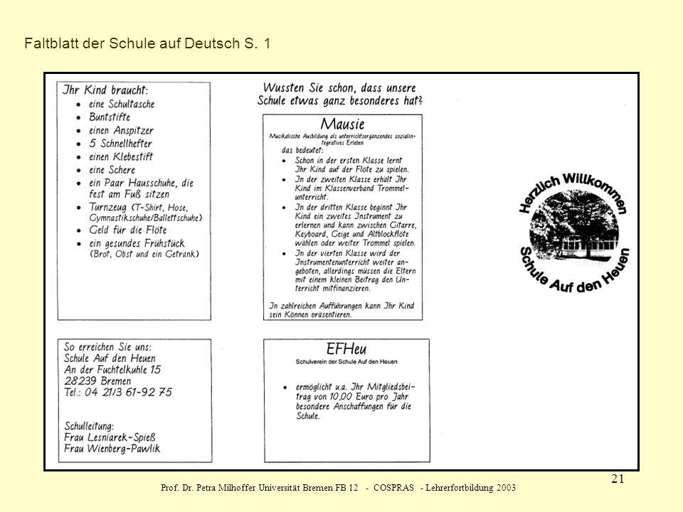 Faltblatt der Schule auf Deutsch S. 1