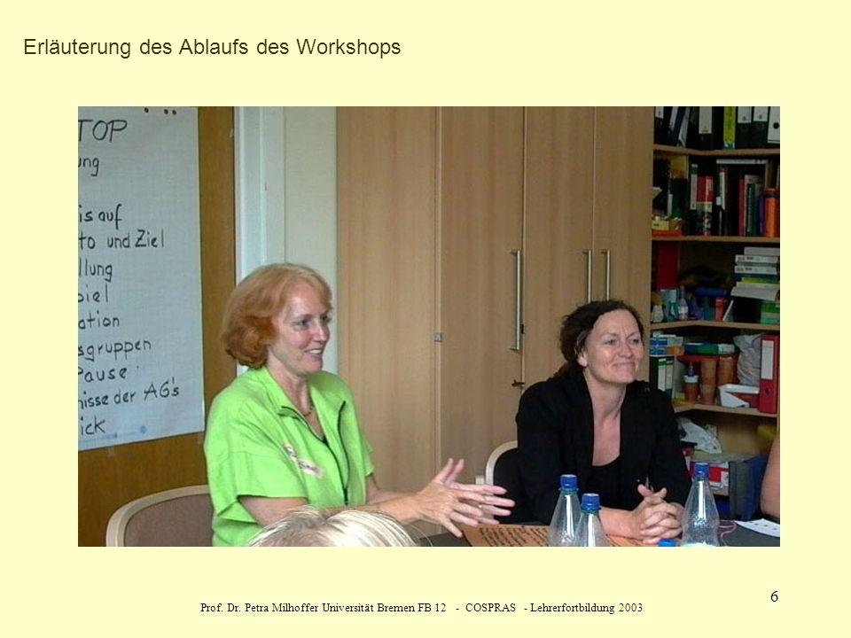 Erläuterung des Ablaufs des Workshops