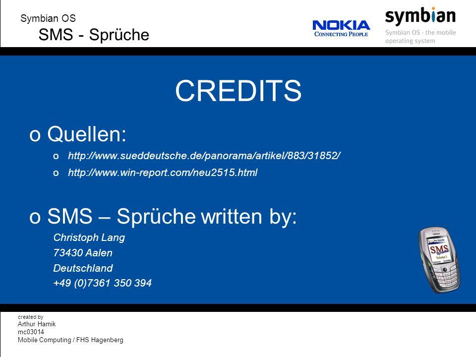CREDITS Quellen: SMS – Sprüche written by: SMS - Sprüche