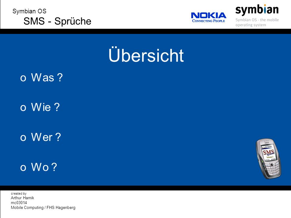 Übersicht Was Wie Wer Wo SMS - Sprüche Symbian OS