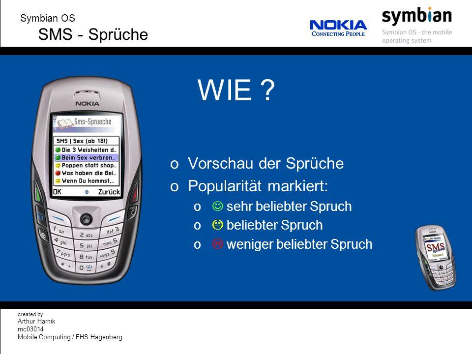 WIE SMS - Sprüche Vorschau der Sprüche Popularität markiert:
