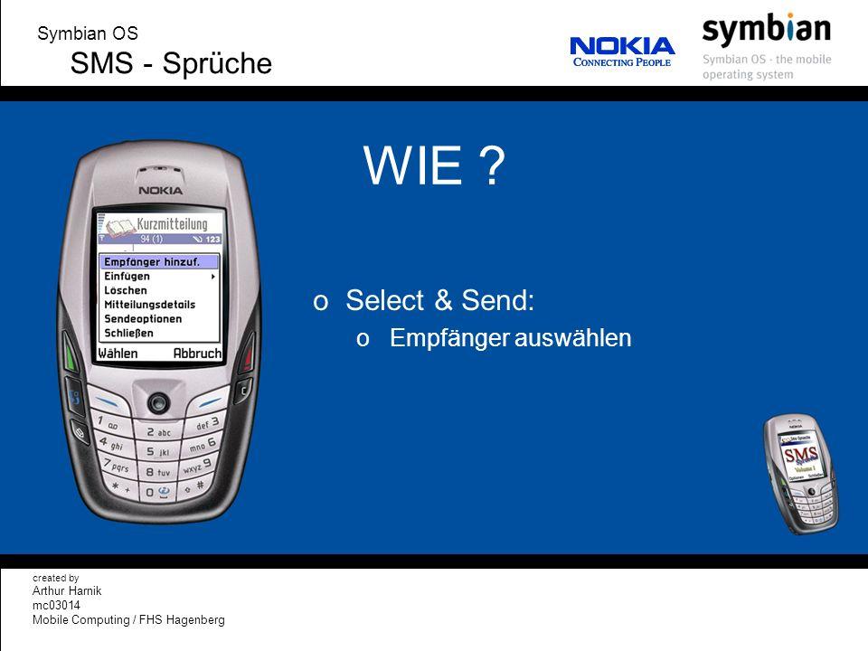 WIE SMS - Sprüche Select & Send: Empfänger auswählen Symbian OS