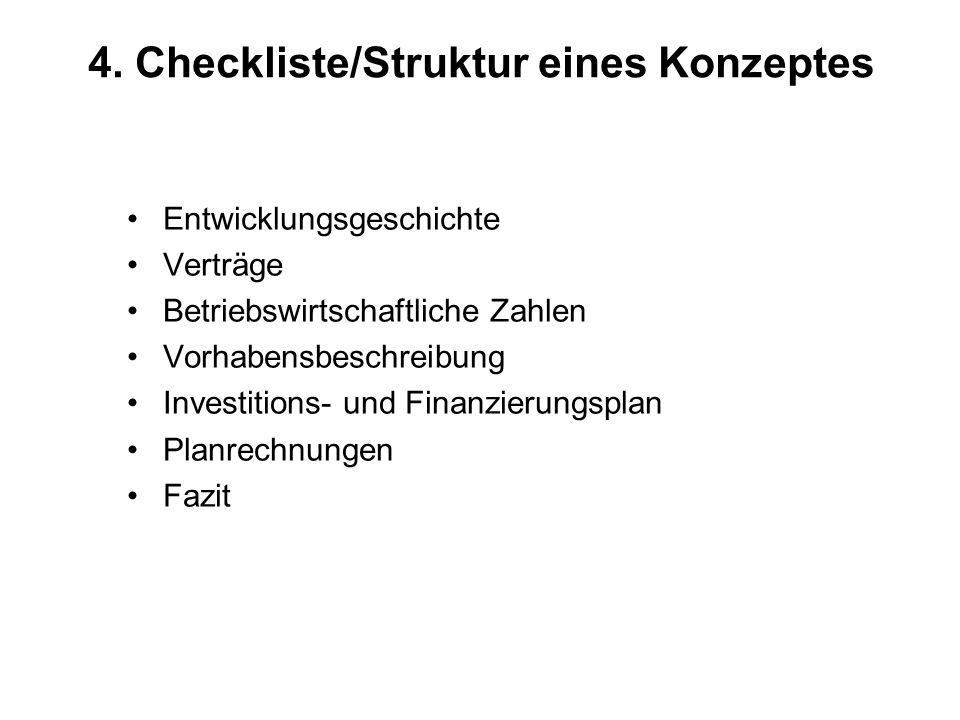4. Checkliste/Struktur eines Konzeptes