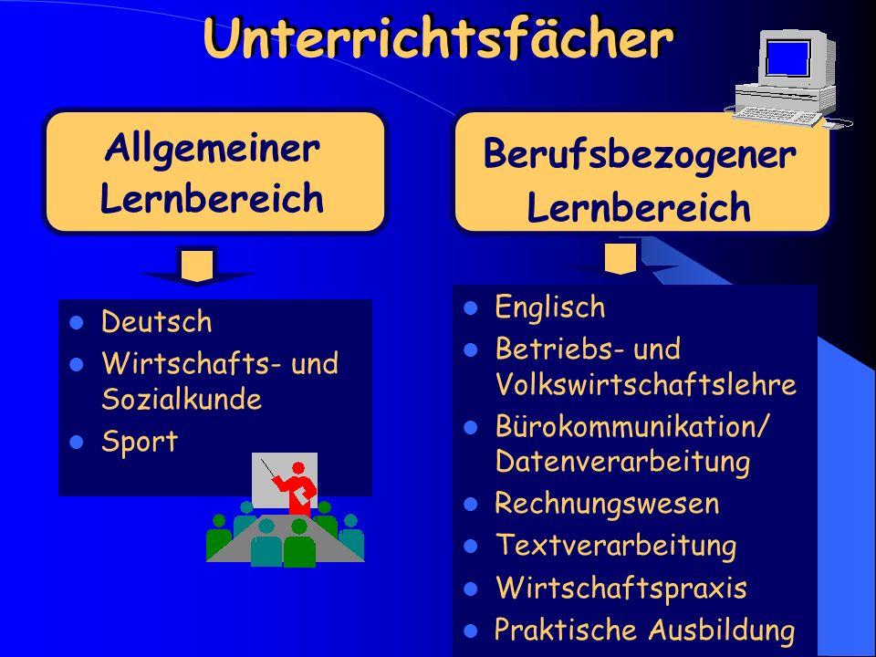 Unterrichtsfächer Allgemeiner Lernbereich Berufsbezogener Lernbereich