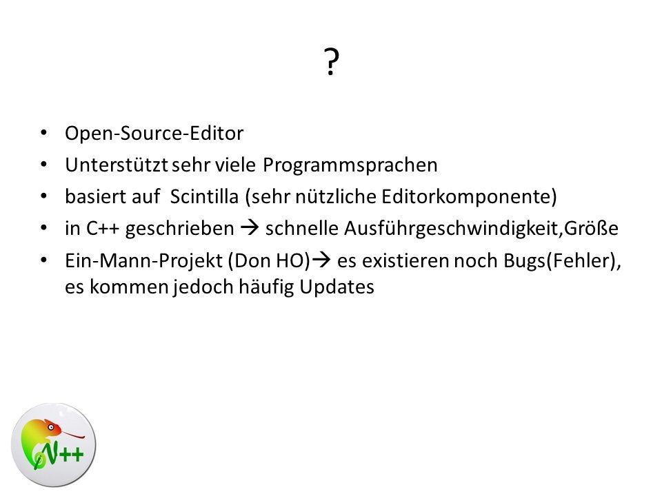 Open-Source-Editor Unterstützt sehr viele Programmsprachen