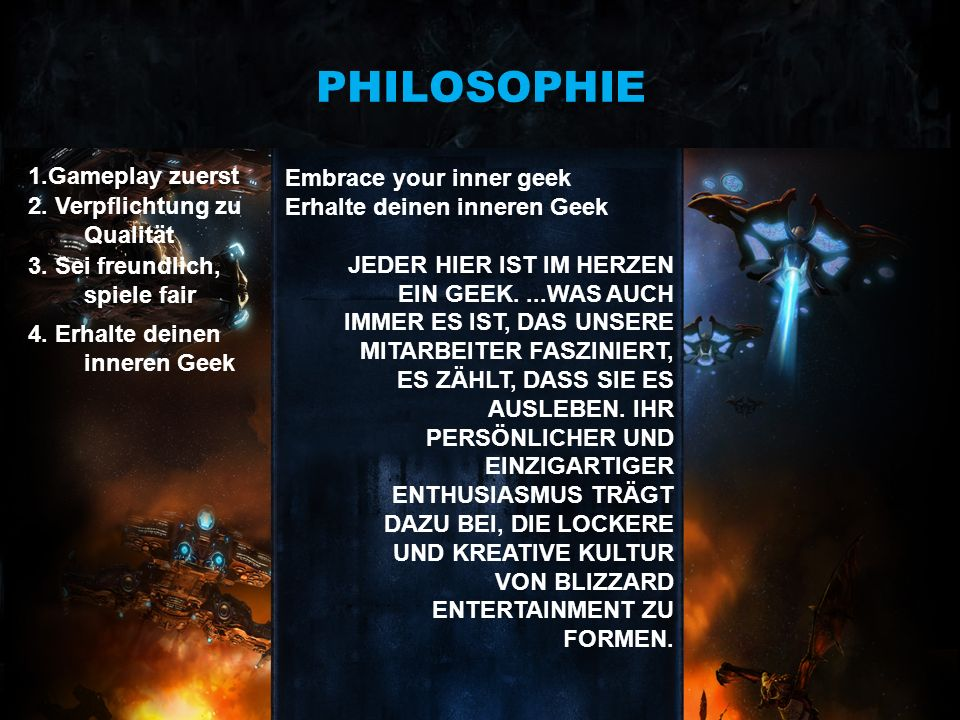 PHILOSOPHIE 1.Gameplay zuerst Embrace your inner geek