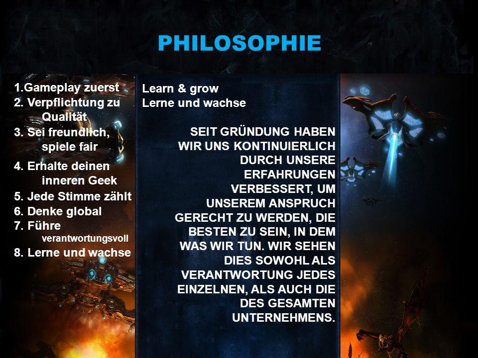 PHILOSOPHIE 1.Gameplay zuerst Learn & grow Lerne und wachse
