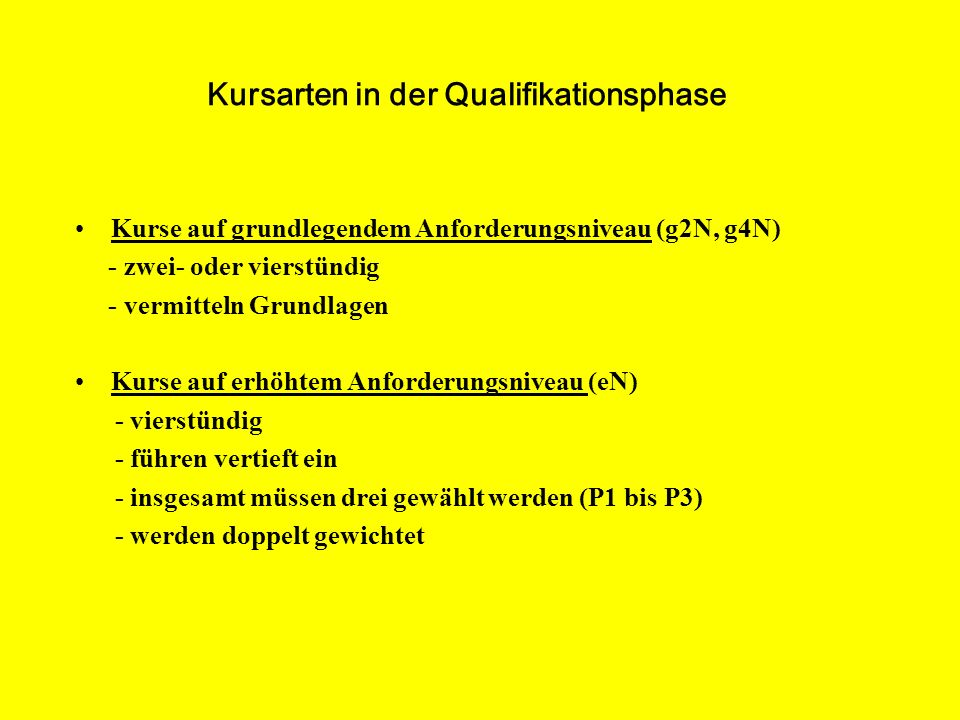 Kursarten in der Qualifikationsphase
