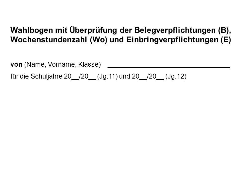 Wahlbogen mit Überprüfung der Belegverpflichtungen (B), Wochenstundenzahl (Wo) und Einbringverpflichtungen (E)