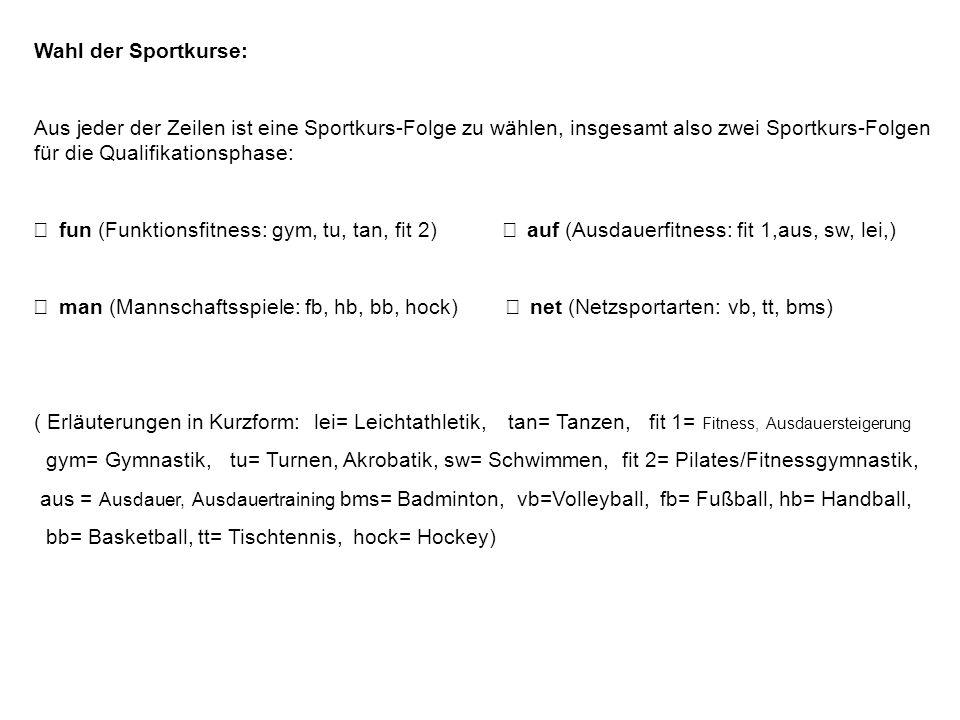 Wahl der Sportkurse:Aus jeder der Zeilen ist eine Sportkurs-Folge zu wählen, insgesamt also zwei Sportkurs-Folgen für die Qualifikationsphase: