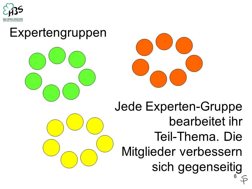 ExpertengruppenJede Experten-Gruppe bearbeitet ihr.