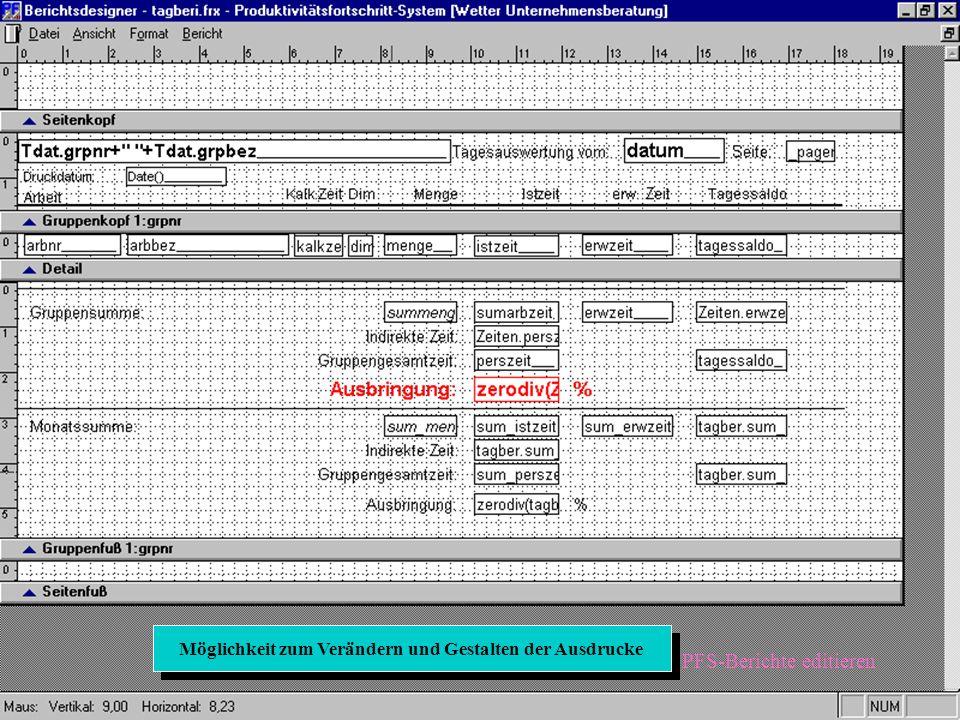 PFS-Berichte editieren