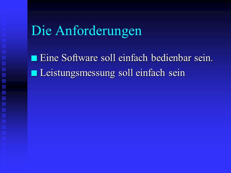 Die Anforderungen Eine Software soll einfach bedienbar sein.