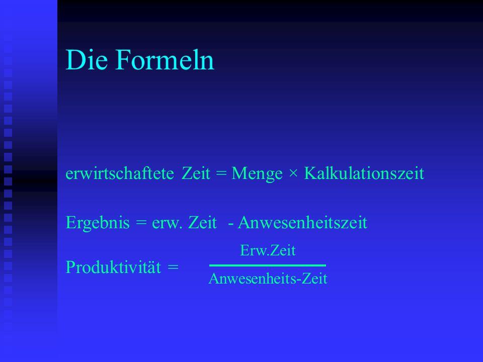 Die Formeln erwirtschaftete Zeit = Menge × Kalkulationszeit Ergebnis = erw. Zeit - Anwesenheitszeit.