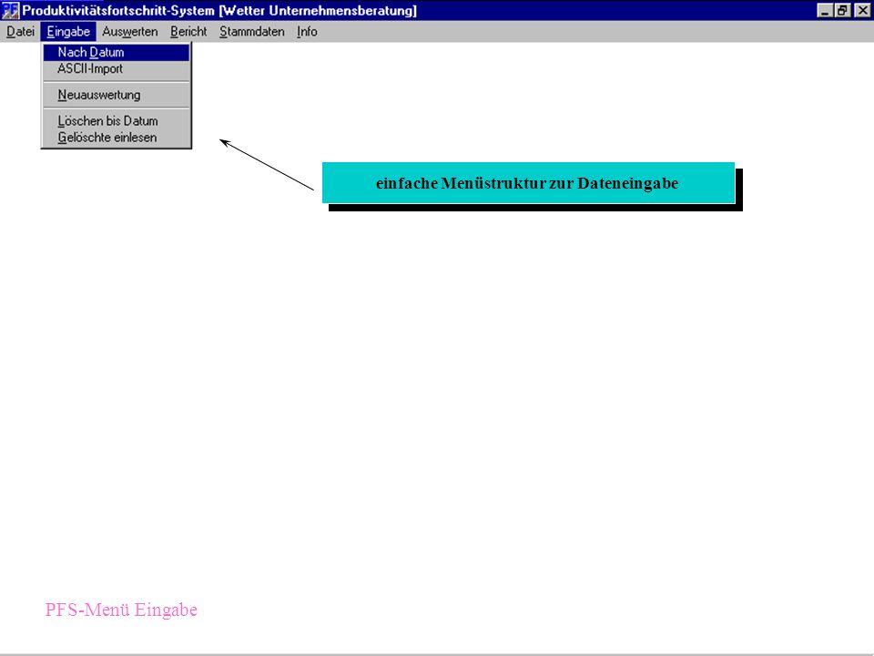 einfache Menüstruktur zur Dateneingabe