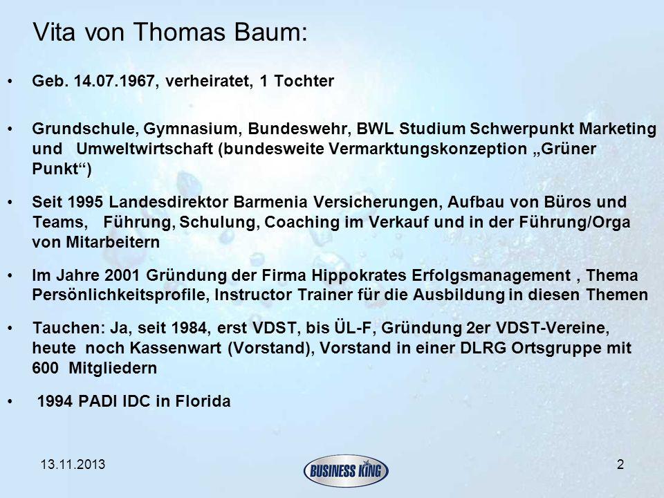 Vita von Thomas Baum: Geb. 14.07.1967, verheiratet, 1 Tochter