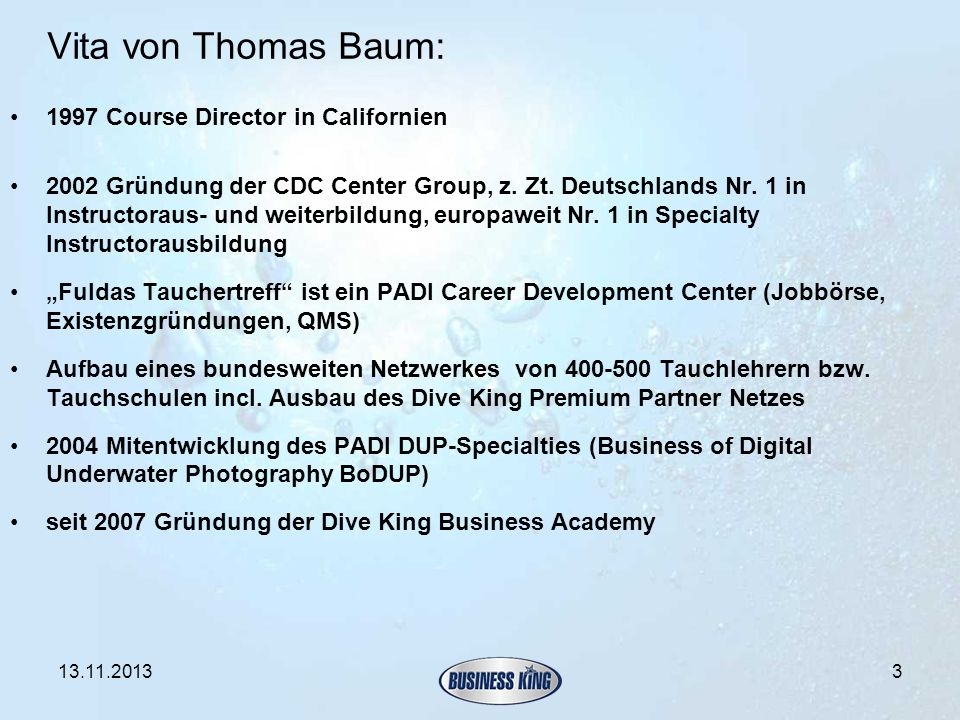 Vita von Thomas Baum: 1997 Course Director in Californien