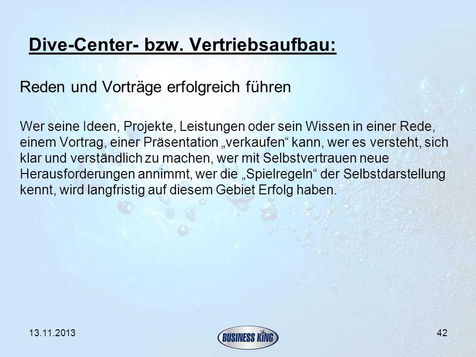 Dive-Center- bzw. Vertriebsaufbau: