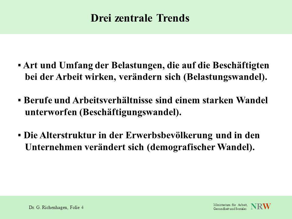 Drei zentrale Trends Art und Umfang der Belastungen, die auf die Beschäftigten. bei der Arbeit wirken, verändern sich (Belastungswandel).