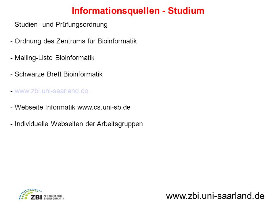 Informationsquellen - Studium