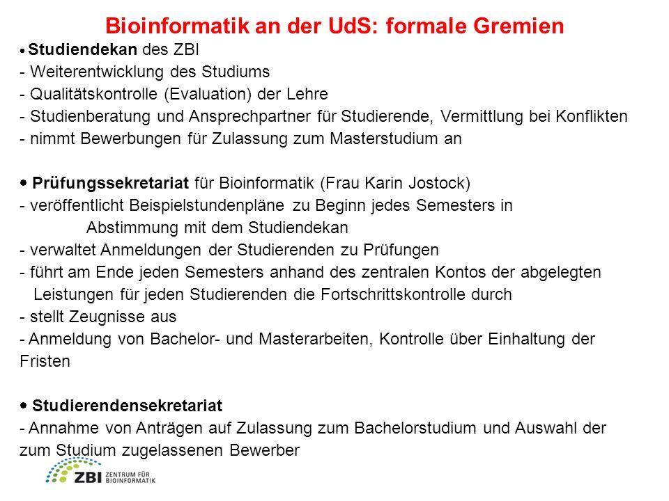 Bioinformatik an der UdS: formale Gremien
