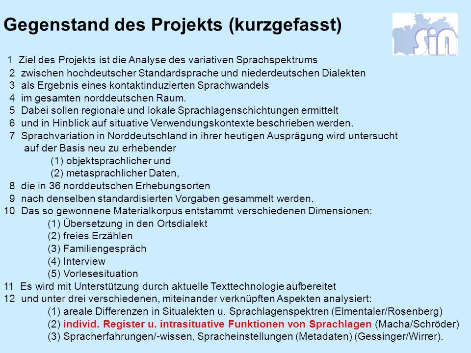 Gegenstand des Projekts (kurzgefasst)