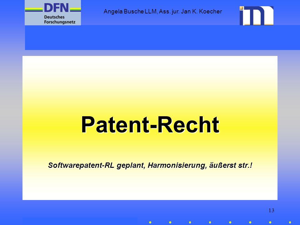 Softwarepatent-RL geplant, Harmonisierung, äußerst str.!