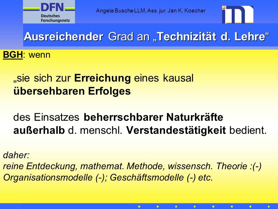 """Ausreichender Grad an """"Technizität d. Lehre"""