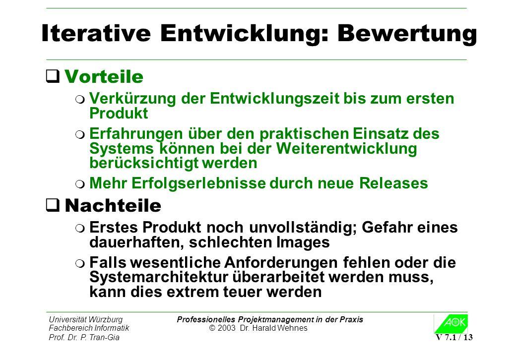 Iterative Entwicklung: Bewertung