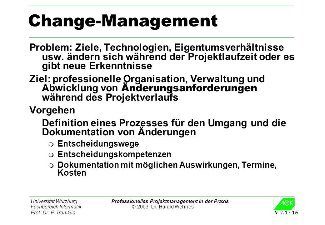 Change-ManagementProblem: Ziele, Technologien, Eigentumsverhältnisse usw. ändern sich während der Projektlaufzeit oder es gibt neue Erkenntnisse.