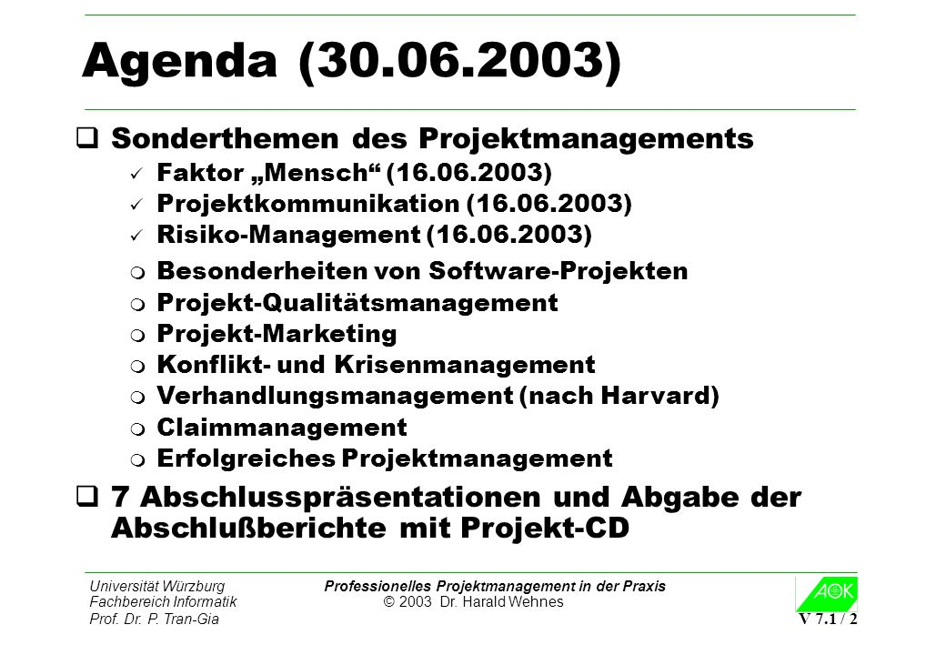 Agenda (30.06.2003) Sonderthemen des Projektmanagements