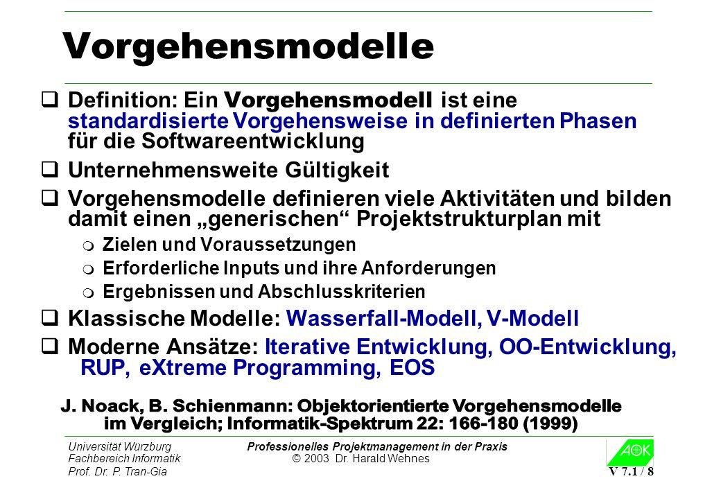 Vorgehensmodelle Definition: Ein Vorgehensmodell ist eine standardisierte Vorgehensweise in definierten Phasen für die Softwareentwicklung.