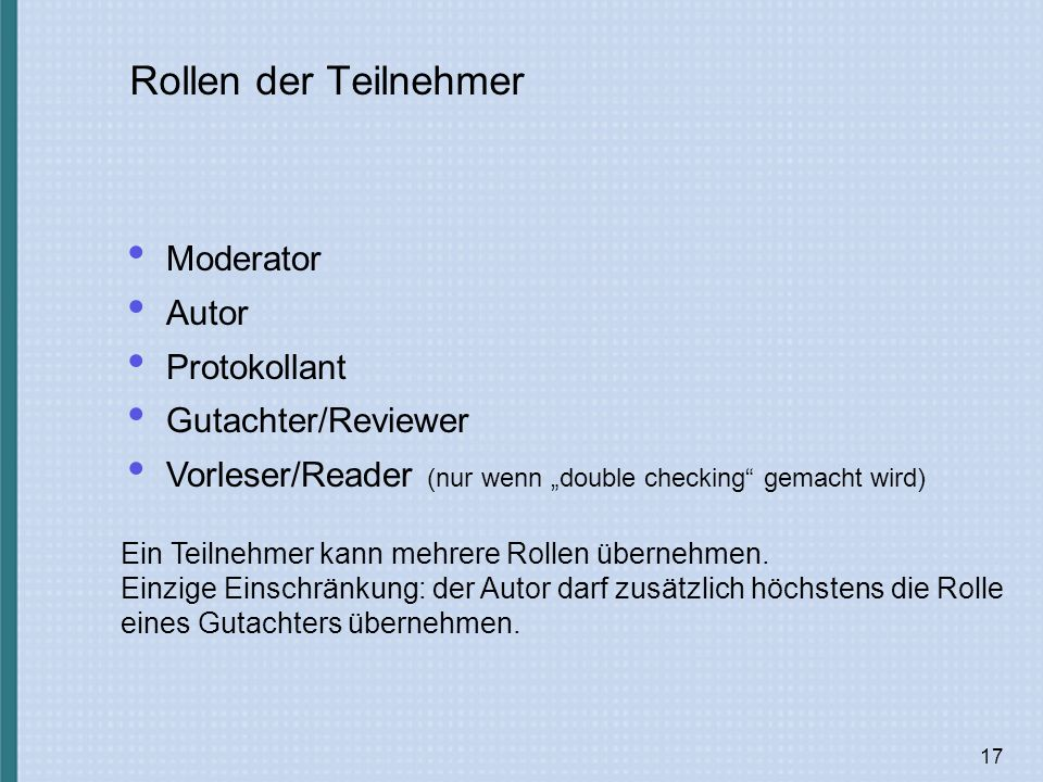 Rollen der Teilnehmer Moderator Autor Protokollant Gutachter/Reviewer