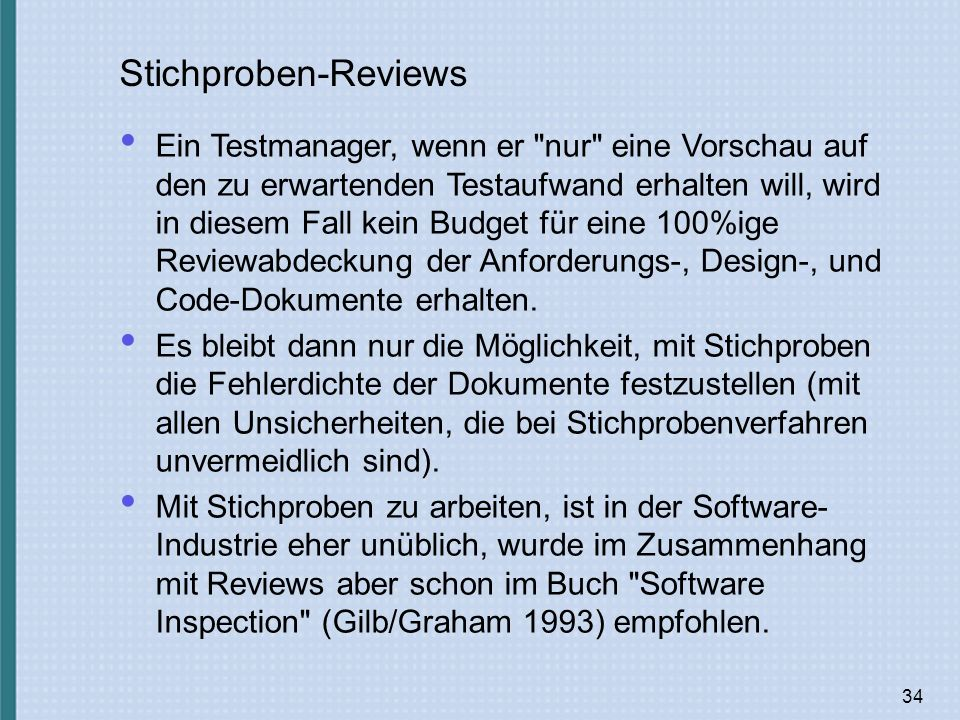 Stichproben-Reviews