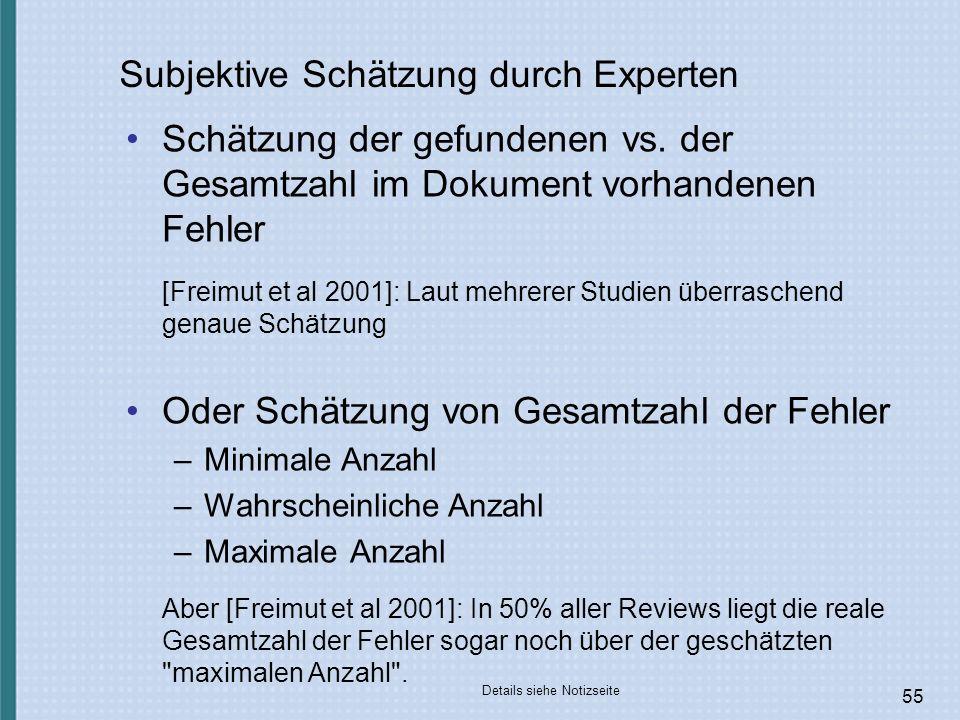 Subjektive Schätzung durch Experten
