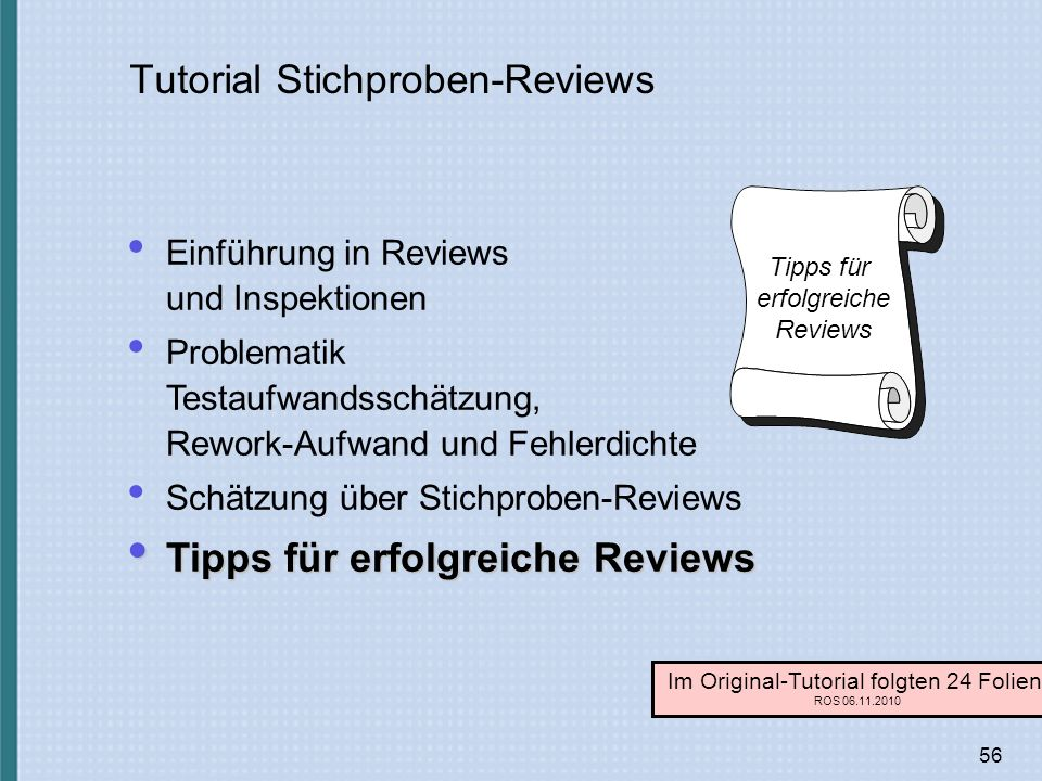 Tutorial Stichproben-Reviews